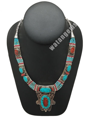 Ethnic Tribal Green Turquoise & Coral Inlay Boho Bib Statement Necklace,NPN41