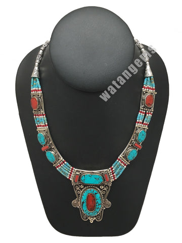 Ethnic Tribal Green Turquoise & Coral Inlay Boho Bib Statement Necklace,NPN40