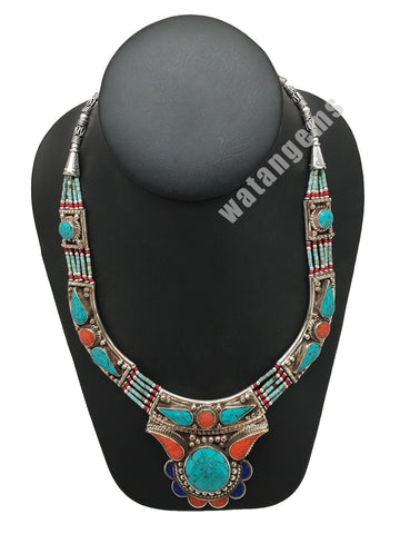 Ethnic Tribal Green Turquoise & Coral Inlay Boho Bib Statement Necklace,NPN37
