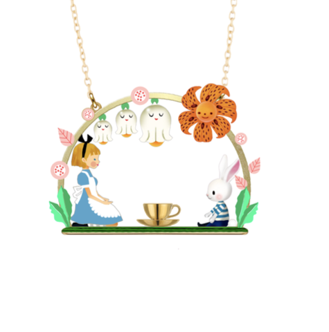 N2 - AMAL303 ALICE AND WHITE RABBIT TEA TIME PENDANT NECKLACE