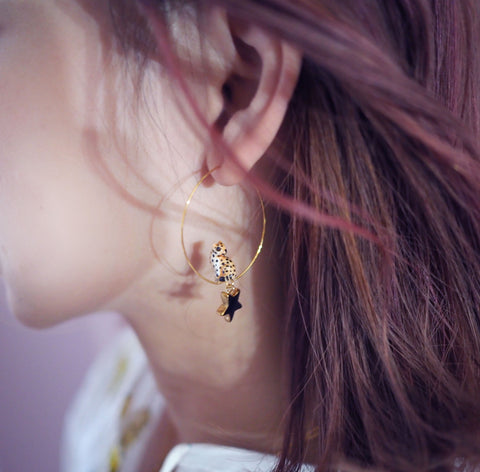 NB - J459 Leopard Star & Moon hoop earrings