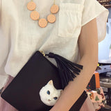 NB - Black Clutch Bag With White Cat Head