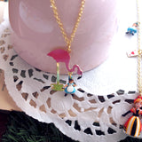 N2 - AMAL306 ALICE'S TEA TIME WITH PINK FLAMINGO PENDANT NECKLACE