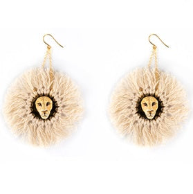 NB - J284 Lion With Cotton Hairs Earrings