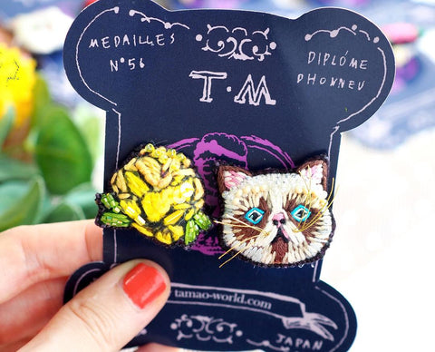 TM - Earrings Cat & Yellow Flower