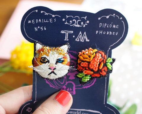 TM - Earrings Cat & Orange Flower