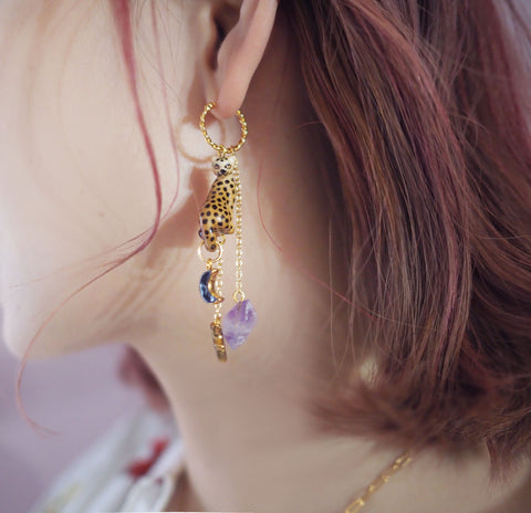 NB - J460 Leopard, Amethyst, Star & Moon earrings