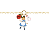 N2 - AMAL204 ALICE, RED ROSES AND WHITE RABBIT THIN BRACELET