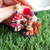 TM - OG2844 Earrings Squirrel & Mushroom (Mushroom Little Red Riding Hook)