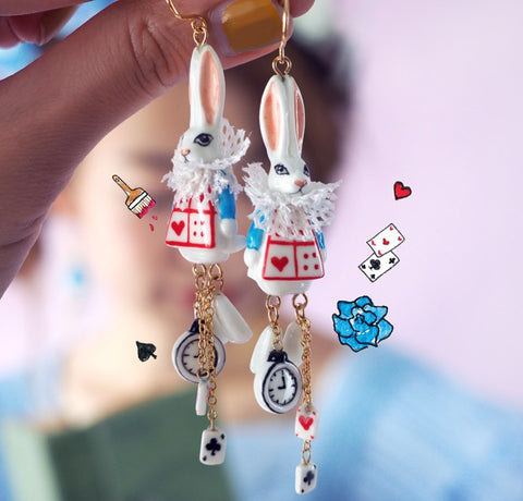 NB - MR J05 White Rabbit Earrings