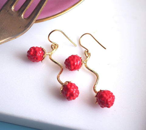 NB - J290 Red Berries Earrings