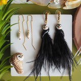 NB - J378 Black Owl With Feathers earring