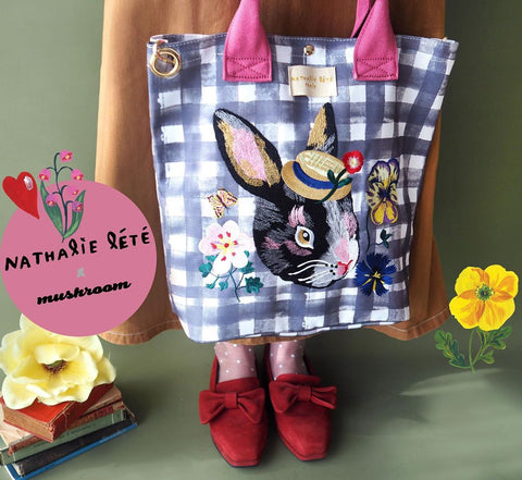 NL - Embroidery Check Tote Bag