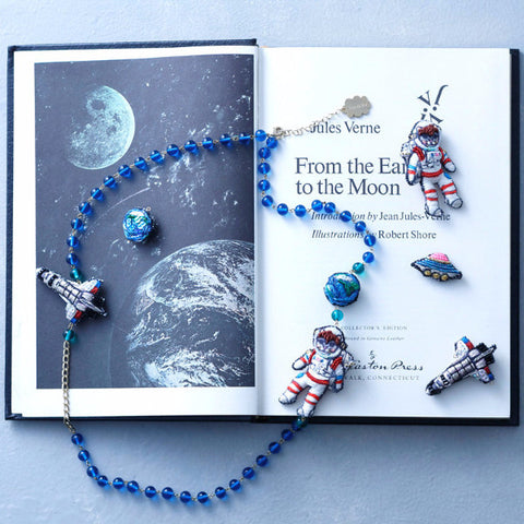 Necklace Astronaut Green / Blue