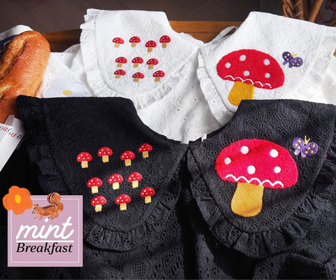 BF - Flower & Mushroom Embroidery Top