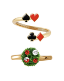 N2 - AMAL603 RED ROSES AND ACES SET OF 2 ADUSTABLE RING