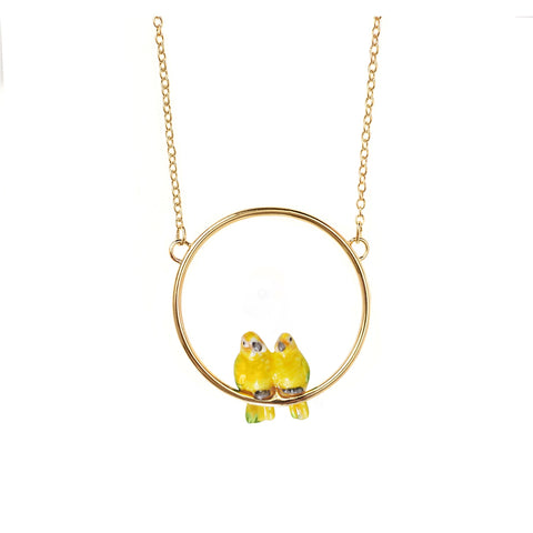 NB - U180 Couples parrots mini necklace