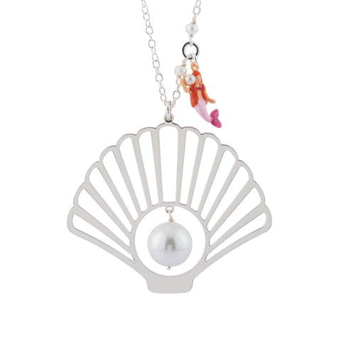 N2 - AHJS307 SILVER SHELL, BEAD AND MERMAID CHARM LONG NECKLACE