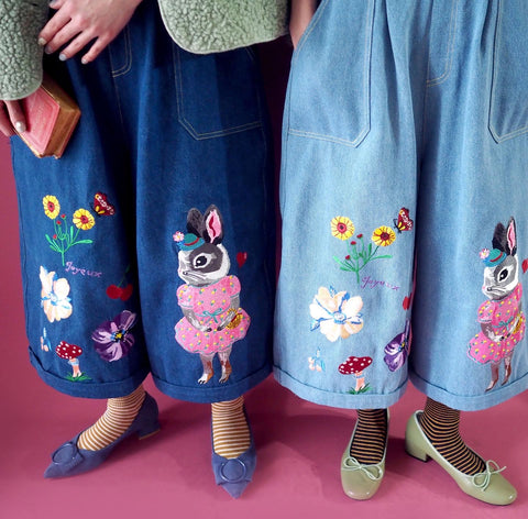 NL - SSMR104 Embroidery Dungarees Jeans