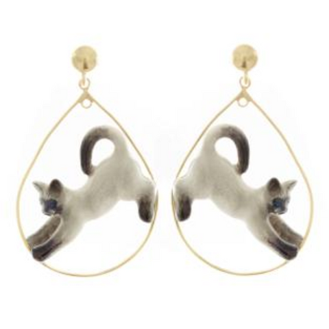 NB - Siamese Stretching Cat Hoop Earrings