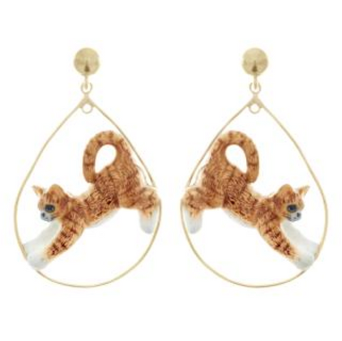 NB - Ginger Stretching Cat Hoop Earrings