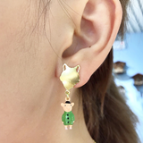 N2 - AGIL102 LITTLE PIG AND BIG BAD WOLF ASYMMETRICAL EARRINGS