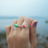 N2 - AHJS603 LITTLE CRAB AND BEAD ADJUSTABLE RING