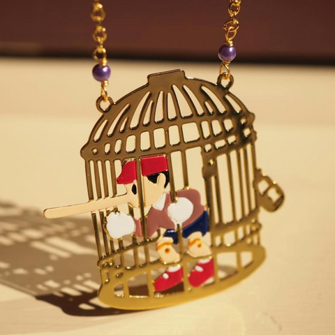 N2 - AHIL303 PINOCCHIO THE LIAR IN HIS CAGE LONG NECKLACE