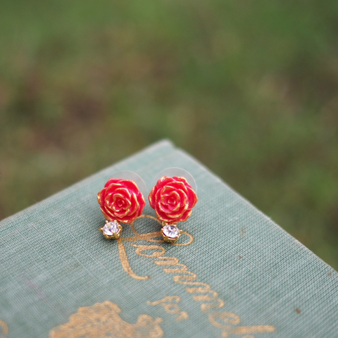 N2 - AIBE123 RED ROSE EARRINGS