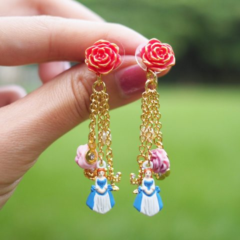 N2 - AIBE121 RED ROSE AND THE BEAUTY, FLOWERS, PEARL AND CANDELARBRUM CHARMS EARRINGS