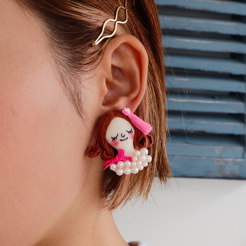 ES-E001 Face Earrings / Pink Ribbon