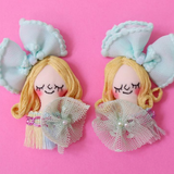 ES-E007 Face Earrings / Mint Green Ribbon