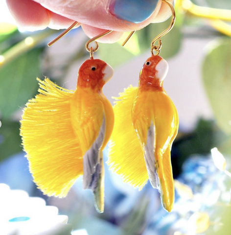 NB - J349 Yellow Parrot with Fringes Earrings