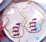 NB - J323 Purple Tuka Fish Wave Hoop Earrings