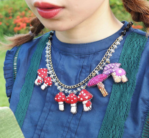 TM - OG2502 Necklace Mushroom Red & Purple