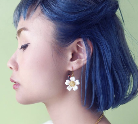 NB - J382 FLOWER&BIRD EARRINGS