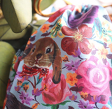 UC - NL281 Satin drawstring pouch Rabbit&Flower