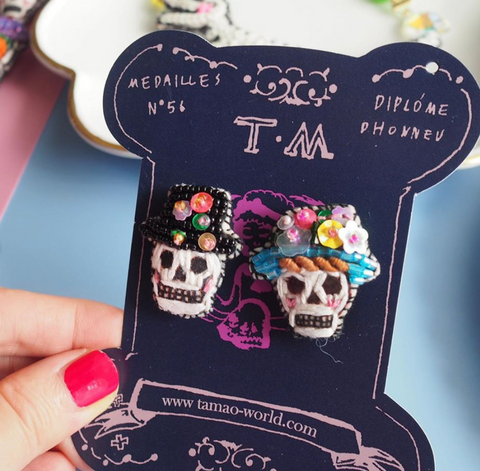 TM - PIE2058 Earrings Skull Festival