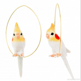 NB - J093 Earrings White Budgerigar Bird