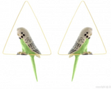 NB - J121 Earrings Triangle Creoles Green Bird