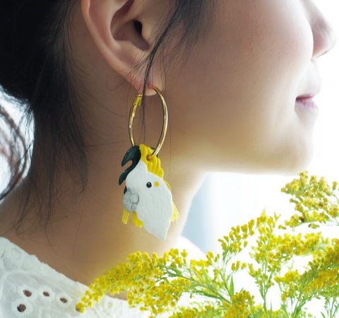 NB - J177 Palm & Cockatoo Palm earrings