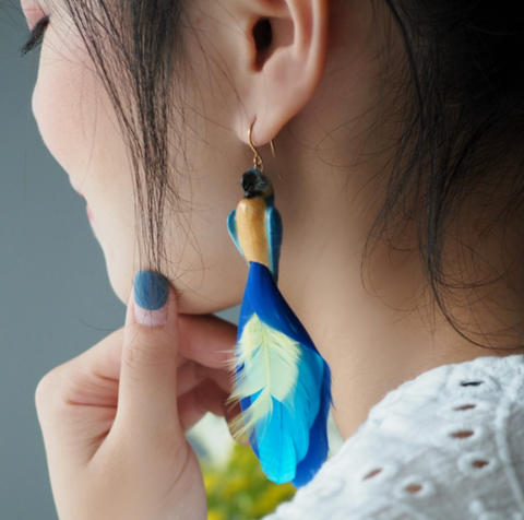 NB - J008 Blue parrot earring