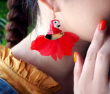 NB - J264 Red parrot head earrings