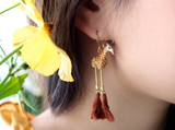 NB - J237 Giraffe with pompom earrings