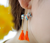 NB - J243 Colorful zebra with pompom earrings