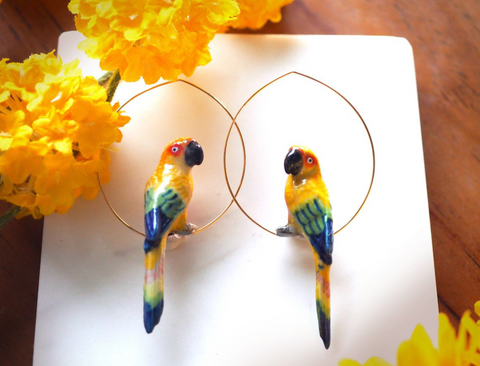 NB - J256 Sun parrot hoop earrings