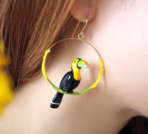 NB - J261 Green toucan color earring