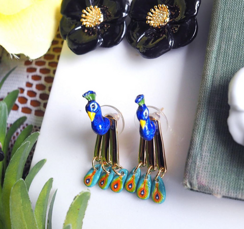 NB - J296 Peacock Front & Back Earrings