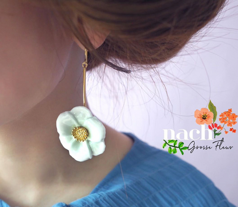 NB - J280 Big White Flower Earrings