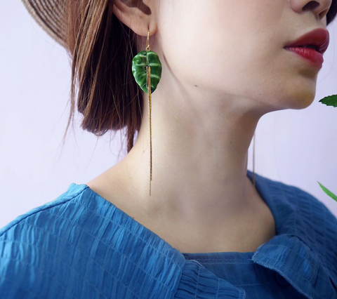 NB - J287 Big Green Leave Elephant Earrings